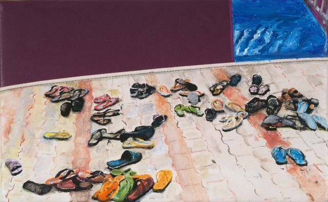 099 Does Wearing Flip Flops Make You A Real Traveller  2007 24 X 40 Cm Oel Auf Sitzbezug